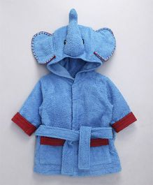 Babyhug Full Sleeves 3D Hooded Bathrobe Elephant Design - Blue