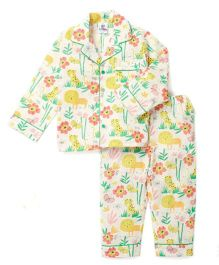 Lilpicks Couture Jungle Print Nightsuit - White
