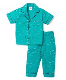 Lilpicks Couture Boat Print Nightsuit - Green