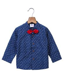 Lilpicks Couture Denim Look Shirt With Bow - Blue