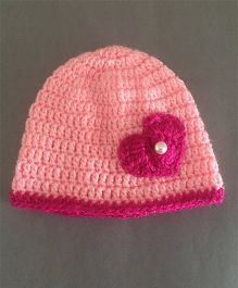 Buttercup From Knittingnani Heart Applique Cap - Pink