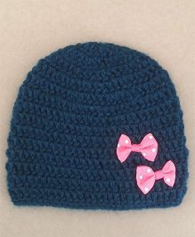Buttercup From Knittingnani Classic Cap With Bows - Dark Blue
