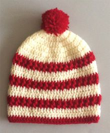 Buttercup From Knittingnani Elegant Cap - Red & Off White
