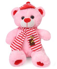 Fun Toys Teddy Bear Soft Toy With Muffler & Cap Pink - Height 30 cm