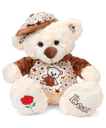 Fun Toys Teddy Bear Soft Toy With Cap Cream Brown - Height 37 cm