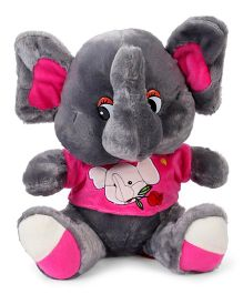 Fun Toys Elephant Soft Toy Grey Pink - Height 37 cm