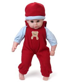 Fun Toys Baby Doll With Cap And Dress Red - Height 58 cm