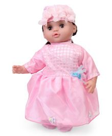 Fun Toys Doll With Cap And Dress Pink - Height 40 cm