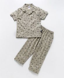 Ollypop Half Sleeves Night Suit Multiprint - Fawn