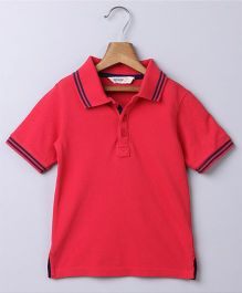 Beebay Solid Polo T-shirt - Red