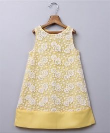 Beebay Floral Embroidered Lace Dress - Light Yellow