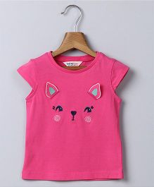 Beebay Cat Embroidery T-Shirt - Pink