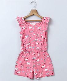 Beebay Animal Print Jumpsuit - Pink