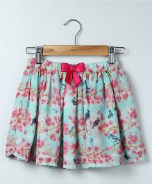Beebay Bird Print Skirt - Blue & Pink