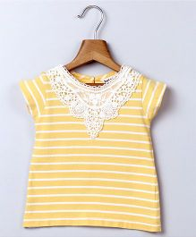 Beebay Lace Yoke Stripe Top - Yellow