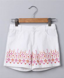 Beebay Embroidery Shorts - White