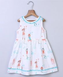 Beebay Girls Doll Print Lace Trim Dress - White