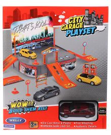 Welly Garage Playset With One Die Cast Porsche Panamera S - Multicolor