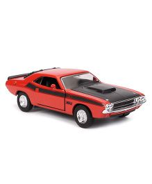 Welly 1970 Dodge Challenger Die Cast Pull Back Car Toy - Red