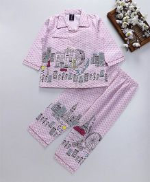 Enfance Core Full Sleeves Eiffel Tower Print Night Suit - Pink