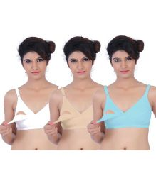 Fabme Nursing Bra Pack of 3 - Sea Green & Skin & White