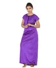 Fabme Women's  Zip Open Satin Nighty - Purple