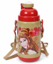Disney Princess Belle Stainless Steel Insulated Sipper Bottle Red Beige - 500 ml
