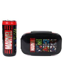 Marvel Avengers Lunch Box With Bottle - Black & Red