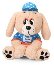 Fun Toys Puppy Soft Toy Light Brown Blue - Height 36 cm