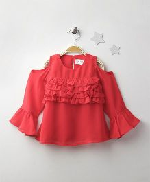 Soul Fairy Cold Shoulder Ruffled Top - Coral