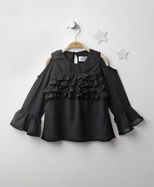Soul Fairy Cold Shoulder Ruffled Top - Black