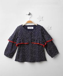 Soul Fairy Printed Top With Pom Pom - Navy