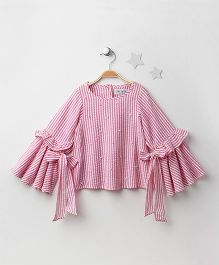 Soul Fairy Striped Top With Tie Up Sleeves - Pink