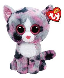 Jungly World Lindi Cat Soft Toy Grey Pink - Height 23 cm