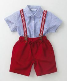 ToffyHouse Half Sleeves Striped Shirt & Shorts With Suspenders - Blue Maroon