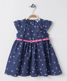 ToffyHouse Cap Sleeves Denim Frock With Belt - Blue