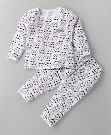 ToffyHouse Full Sleeves Night Suit Allover Print - Off White