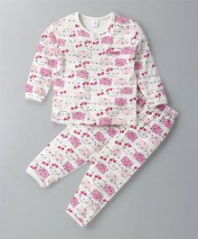 ToffyHouse Full Sleeves Night Suit Kitty Print - Off White Pink