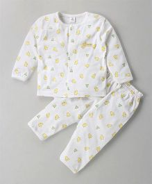 ToffyHouse Full Sleeves Night Suit Bird Print - Off White