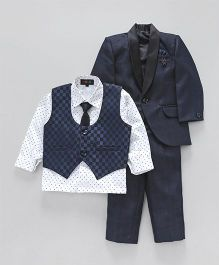 Robo Fry 4 Piece Party Suit With Tie - Blue White