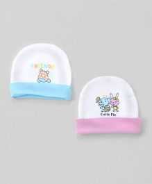 Tango Round Caps Friends Print Pack of 2 - Pink Blue