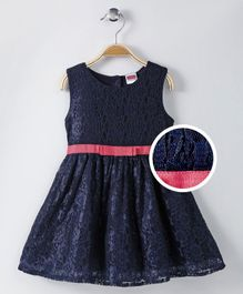Babyhug Party Wear Sleeveless Lace Frock Bow Design - Navy Blue