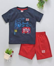 Babyhug Half Sleeves T-Shirt & Shorts Bus Patch - Navy Red