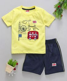 Babyhug Half Sleeves T-Shirt & Shorts Bus Patch - Yellow Navy