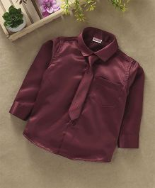 Babyhug Full Sleeves Party Wear Shirt With Tie - Dark Maroon