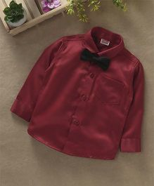 Babyhug Full Sleeves Party Wear Shirt With Bow - Maroon