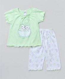 Ollypop Short Sleeves Night Suit Teddy Bear Print - Pista & White
