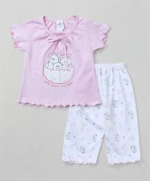 Ollypop Short Sleeves Night Suit Teddy Bear Print - Light Pink & White