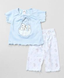 Ollypop Short Sleeves Night Suit Teddy Bear Print - Light Blue & White