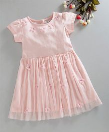 Babyoye Half Sleeves Frock Flower Applique - Light Pink